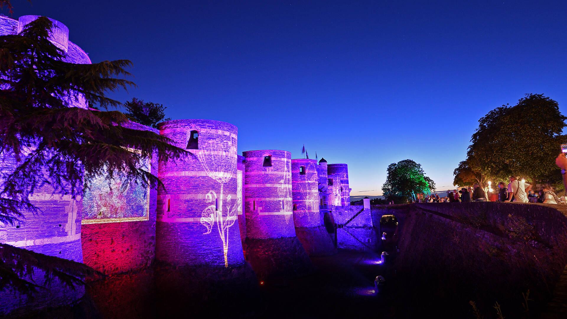 Rêveries végétales, illuminations les soirs d'été sur le Château d'Angers