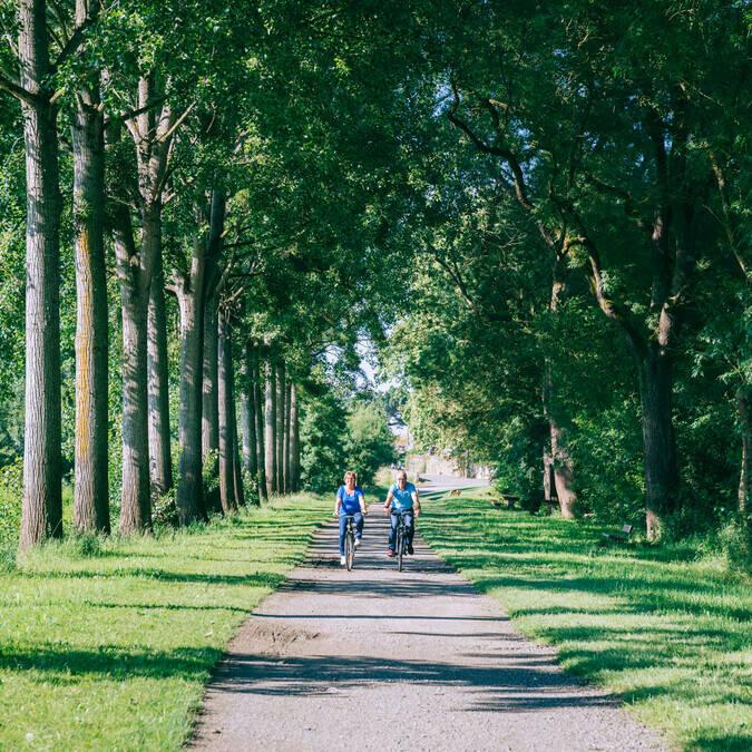 Couple de séniors qui se promène à vélo